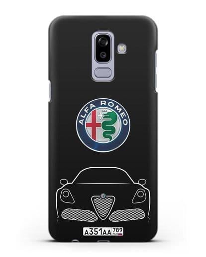 Чехол Alfa Romeo с автомобильным номером силикон черный для Samsung Galaxy J8 2018 [SM-J810F]