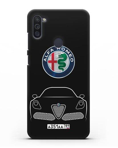 Чехол Alfa Romeo с автомобильным номером силикон черный для Samsung Galaxy M11 [SM-M115F]