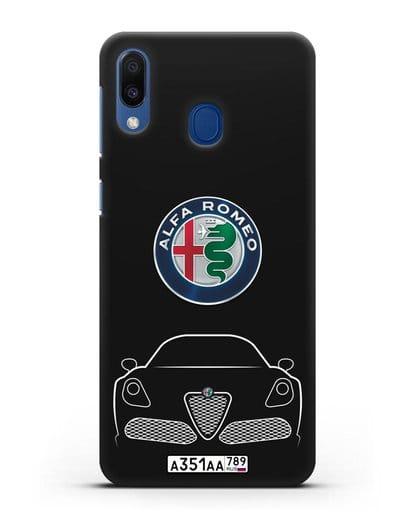Чехол Alfa Romeo с автомобильным номером силикон черный для Samsung Galaxy M20 [SM-M205F]