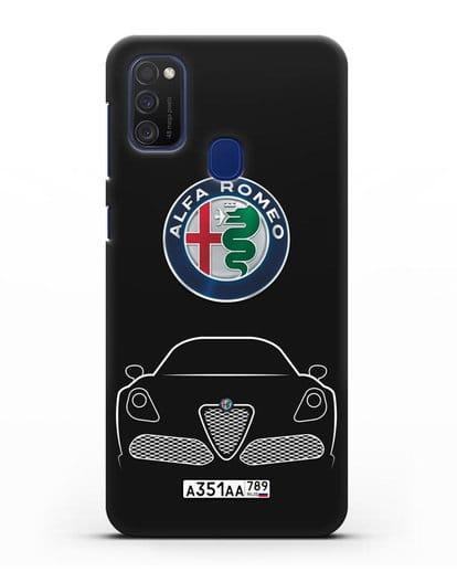 Чехол Alfa Romeo с автомобильным номером силикон черный для Samsung Galaxy M21 [SM-M215F]