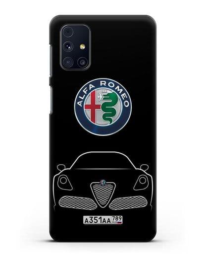 Чехол Alfa Romeo с автомобильным номером силикон черный для Samsung Galaxy M51 [SM-M515F]
