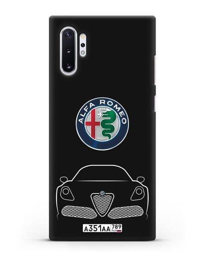 Чехол Alfa Romeo с автомобильным номером силикон черный для Samsung Galaxy Note 10 Plus [N975F]