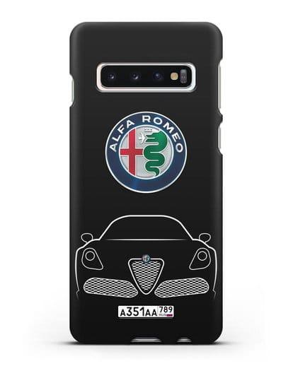 Чехол Alfa Romeo с автомобильным номером силикон черный для Samsung Galaxy S10 Plus [SM-G975F]