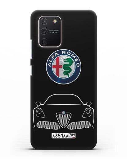 Чехол Alfa Romeo с автомобильным номером силикон черный для Samsung Galaxy S10 lite [SM-G770F]
