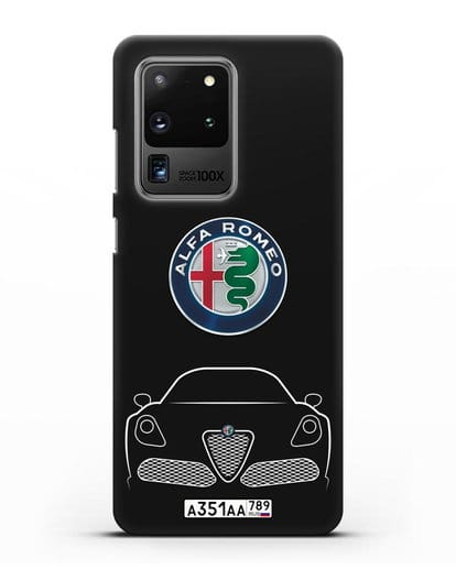 Чехол Alfa Romeo с автомобильным номером силикон черный для Samsung Galaxy S20 Ultra [SM-G988B]