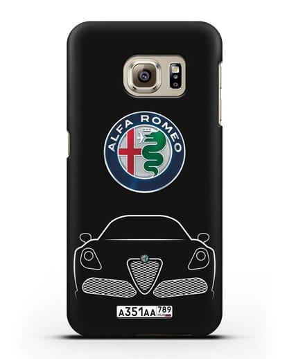 Чехол Alfa Romeo с автомобильным номером силикон черный для Samsung Galaxy S6 Edge [SM-G925F]