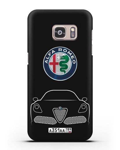 Чехол Alfa Romeo с автомобильным номером силикон черный для Samsung Galaxy S7 Edge [SM-G935F]