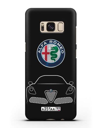 Чехол Alfa Romeo с автомобильным номером силикон черный для Samsung Galaxy S8 Plus [SM-G955F]