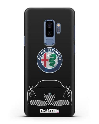 Чехол Alfa Romeo с автомобильным номером силикон черный для Samsung Galaxy S9 Plus [SM-G965F]