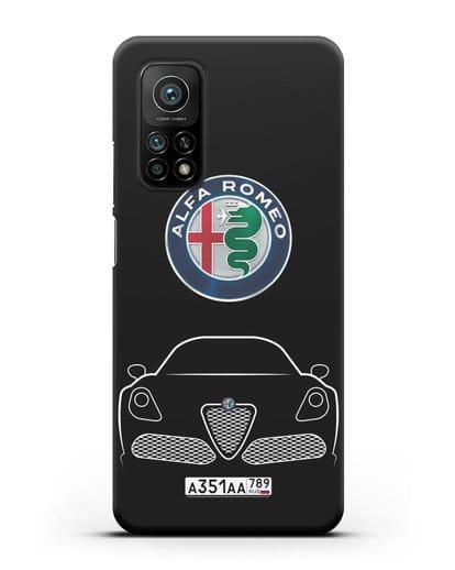 Чехол Alfa Romeo с автомобильным номером силикон черный для Xiaomi Mi 10T