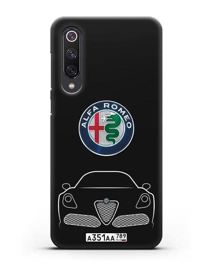 Чехол Alfa Romeo с автомобильным номером силикон черный для Xiaomi Mi 9 SE