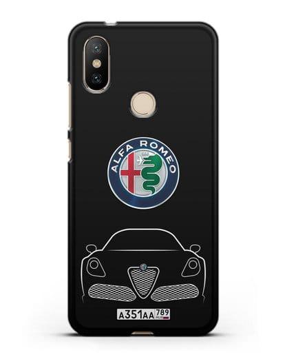 Чехол Alfa Romeo с автомобильным номером силикон черный для Xiaomi Mi A2
