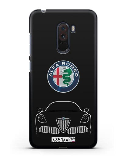 Чехол Alfa Romeo с автомобильным номером силикон черный для Xiaomi Pocophone F1
