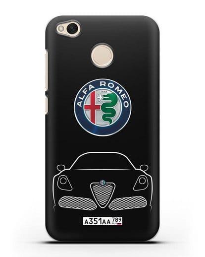 Чехол Alfa Romeo с автомобильным номером силикон черный для Xiaomi Redmi 4X
