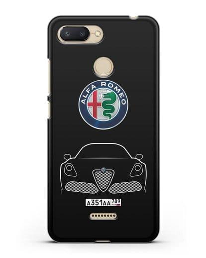 Чехол Alfa Romeo с автомобильным номером силикон черный для Xiaomi Redmi 6