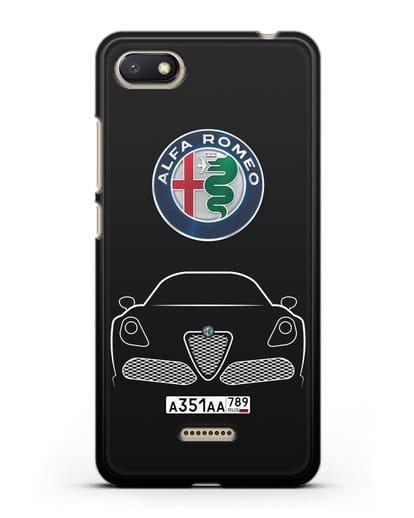 Чехол Alfa Romeo с автомобильным номером силикон черный для Xiaomi Redmi 6A
