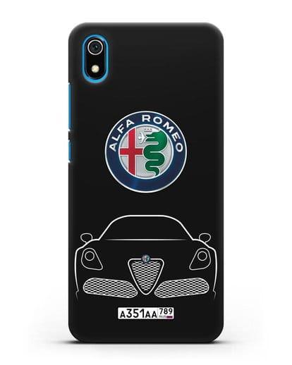 Чехол Alfa Romeo с автомобильным номером силикон черный для Xiaomi Redmi 7A