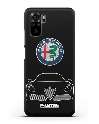 Чехол Alfa Romeo с автомобильным номером силикон черный для Xiaomi Redmi Note 10