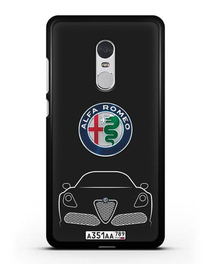 Чехол Alfa Romeo с автомобильным номером силикон черный для Xiaomi Redmi Note 4