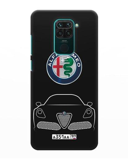 Чехол Alfa Romeo с автомобильным номером силикон черный для Xiaomi Redmi Note 9