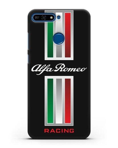 Чехол с логотипом Альфа Ромео силикон черный для Honor 7А Pro