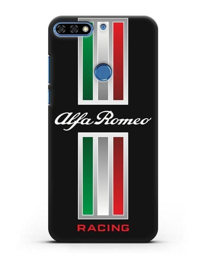 Чехол с логотипом Альфа Ромео силикон черный для Honor 7C Pro
