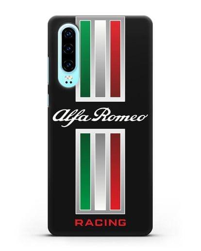 Чехол с логотипом Альфа Ромео силикон черный для Huawei P30