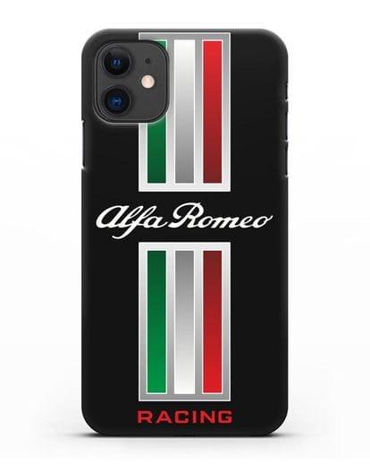 Чехол с логотипом Альфа Ромео силикон черный для iPhone 11
