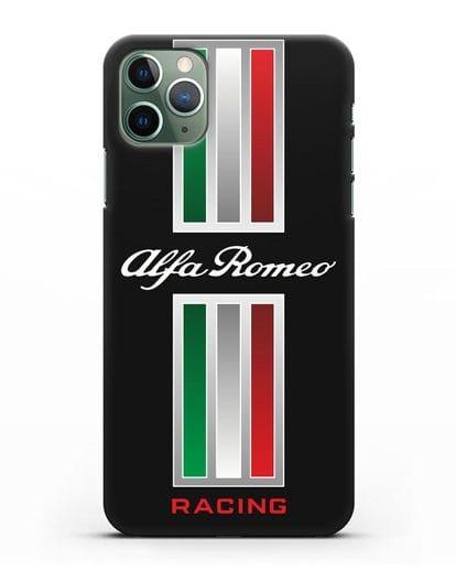 Чехол с логотипом Альфа Ромео силикон черный для iPhone 11 Pro Max