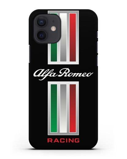 Чехол с логотипом Альфа Ромео силикон черный для iPhone 12