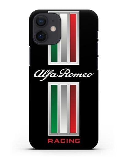 Чехол с логотипом Альфа Ромео силикон черный для iPhone 12 mini