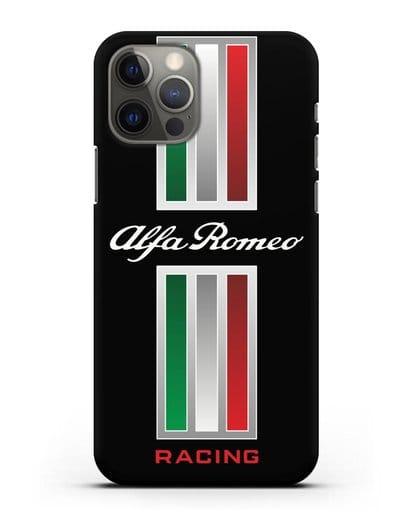 Чехол с логотипом Альфа Ромео силикон черный для iPhone 12 Pro