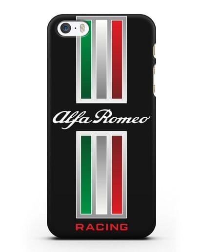 Чехол с логотипом Альфа Ромео силикон черный для iPhone 5/5s/SE
