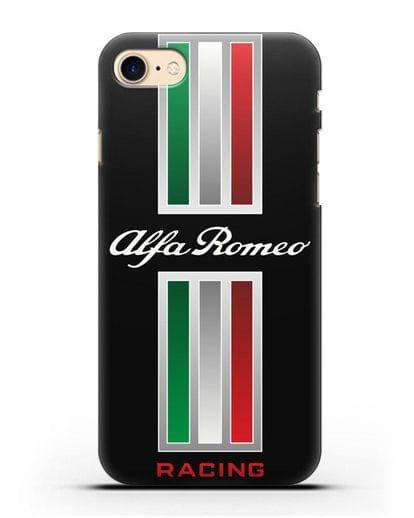 Чехол с логотипом Альфа Ромео силикон черный для iPhone 8