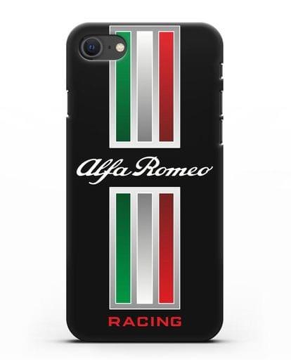 Чехол с логотипом Альфа Ромео силикон черный для iPhone SE 2020