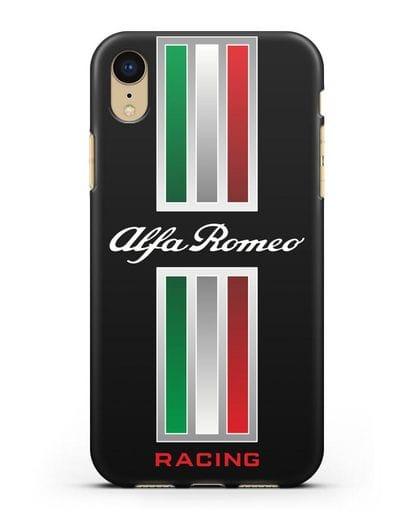 Чехол с логотипом Альфа Ромео силикон черный для iPhone XR