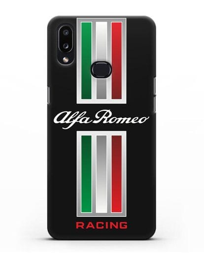 Чехол с логотипом Альфа Ромео силикон черный для Samsung Galaxy A10s [SM-F107F]