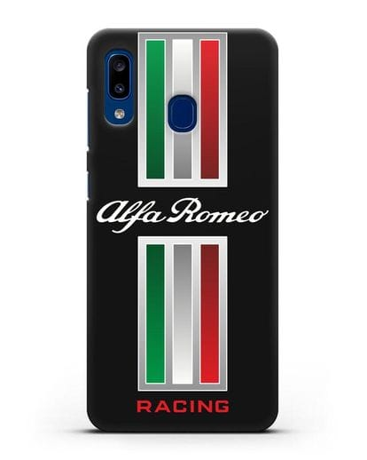Чехол с логотипом Альфа Ромео силикон черный для Samsung Galaxy A20 [SM-A205FN]