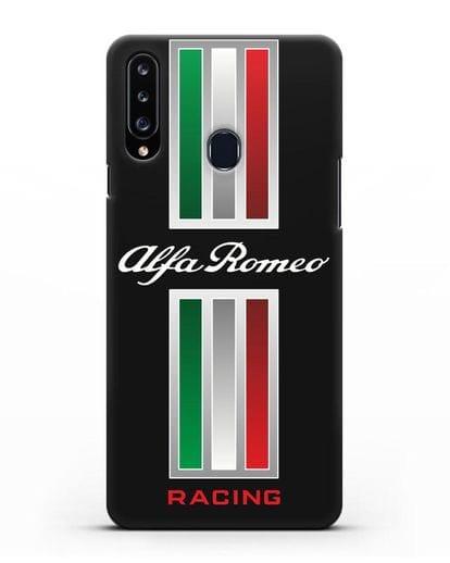 Чехол с логотипом Альфа Ромео силикон черный для Samsung Galaxy A20s [SM-A207FN]