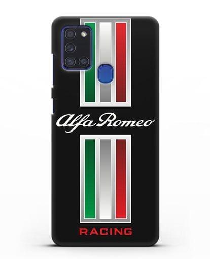 Чехол с логотипом Альфа Ромео силикон черный для Samsung Galaxy A21s [SM-A217F]