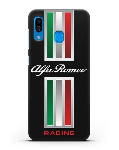Чехол с логотипом Альфа Ромео силикон черный для Samsung Galaxy A30 [SM-A305FN]