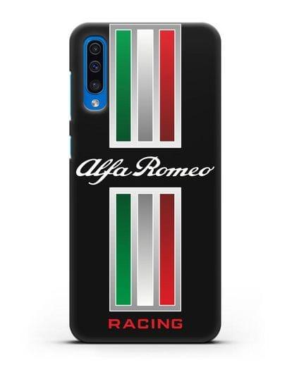 Чехол с логотипом Альфа Ромео силикон черный для Samsung Galaxy A50 [SM-A505F]