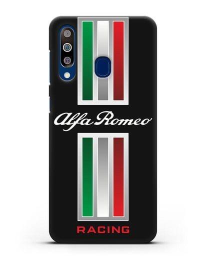 Чехол с логотипом Альфа Ромео силикон черный для Samsung Galaxy A60 [SM-A606F]