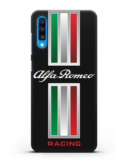 Чехол с логотипом Альфа Ромео силикон черный для Samsung Galaxy A70 [SM-A705F]
