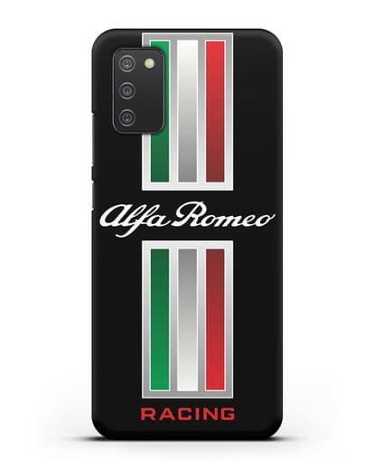 Чехол с логотипом Альфа Ромео силикон черный для Samsung Galaxy A02s [SM-A025F]