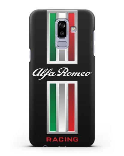 Чехол с логотипом Альфа Ромео силикон черный для Samsung Galaxy J8 2018 [SM-J810F]