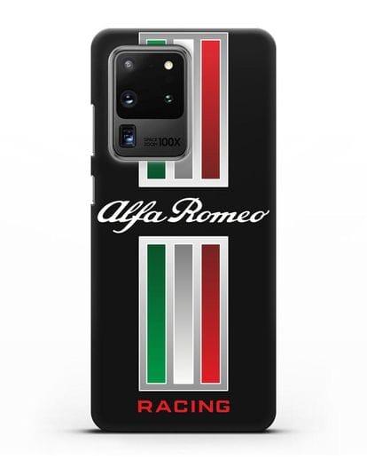 Чехол с логотипом Альфа Ромео силикон черный для Samsung Galaxy S20 Ultra [SM-G988B]