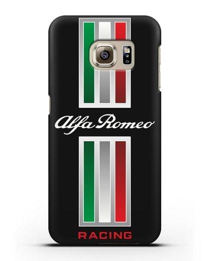 Чехол с логотипом Альфа Ромео силикон черный для Samsung Galaxy S6 Edge [SM-G925F]