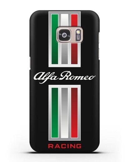 Чехол с логотипом Альфа Ромео силикон черный для Samsung Galaxy S7 Edge [SM-G935F]