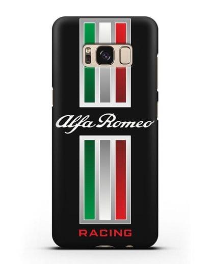 Чехол с логотипом Альфа Ромео силикон черный для Samsung Galaxy S8 [SM-950F]